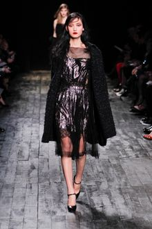 Nina Ricci Fall 2012 Metallic Lace Inset Dress - Lyst