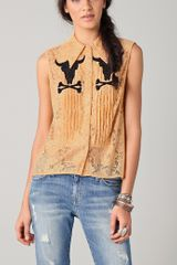 Wildfox White Label Sequin Cow Skull Sleeveless Blouse - Lyst