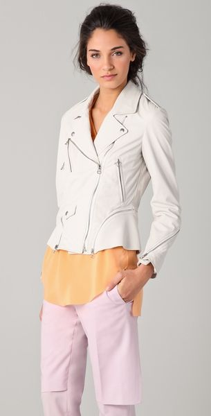 3.1 Phillip Lim Leather Motocross Jacket in White - Lyst