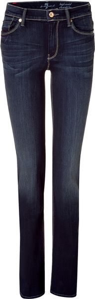 7 For All Mankind Dark Blue High Waisted Straight Leg Jeans in Blue - Lyst