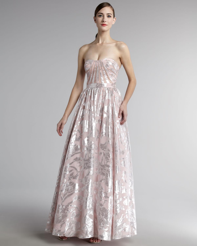 Lyst - Aidan Mattox Strapless Metallic Jacquard Gown in Pink