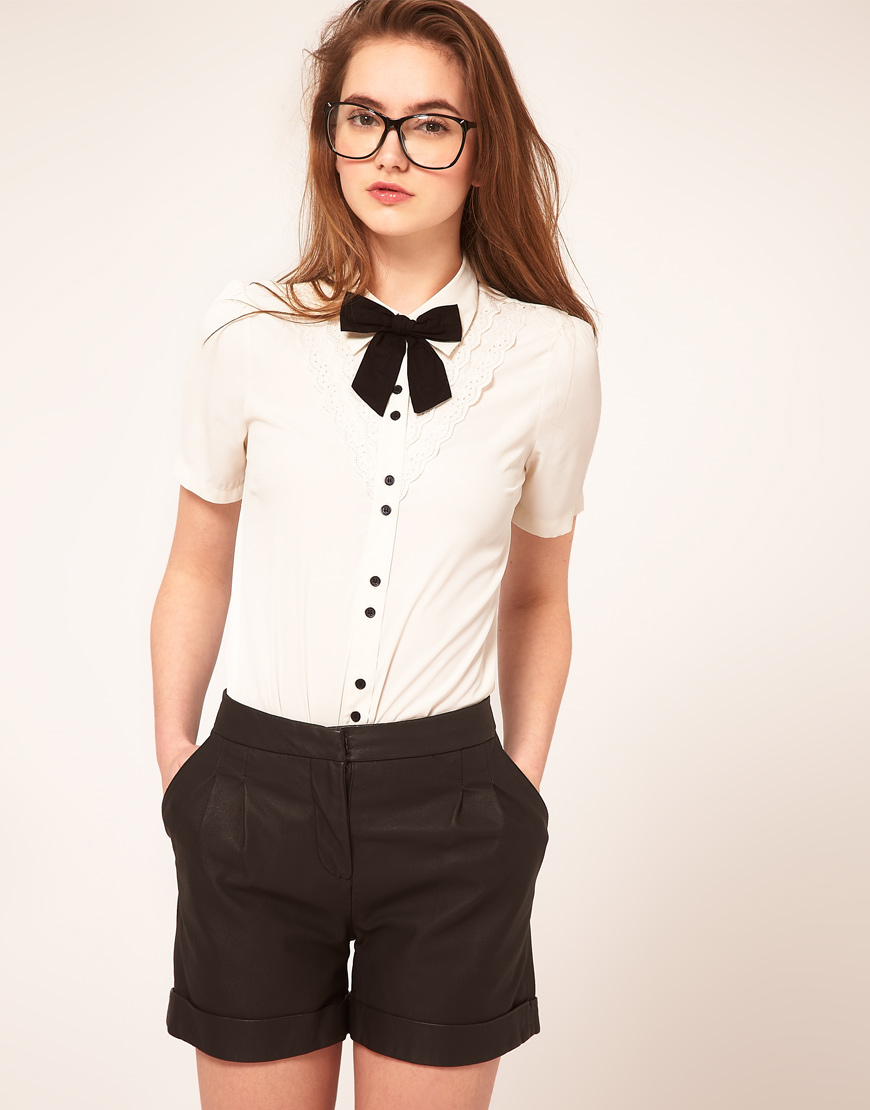 Asos Collection Asos Blouse With Broderie Anglaise And Bow