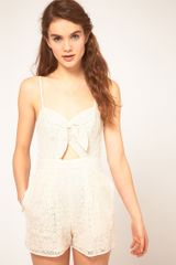 ASOS Collection Asos Lace Bandeau Playsuit with Bow Detail - Lyst