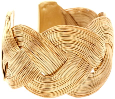 Asos Collection Asos Curved Textured Interlinking Cuff in Gold - Lyst