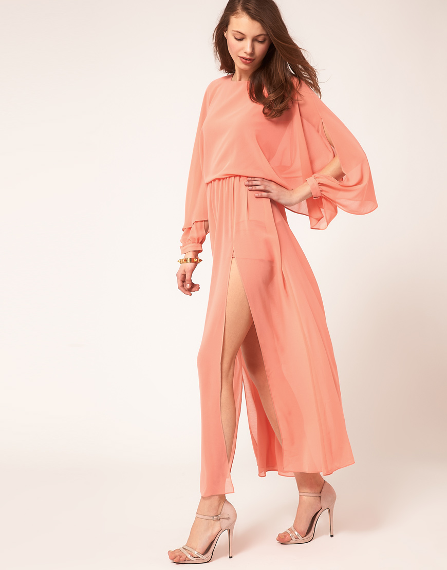 4bc10574d0 Lyst asos collection asos maxi dress with split thigh in pink jpg 870x1110  Asos peach dress