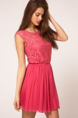ASOS Collection Asos Skater Dress with Lace and Mesh - Lyst