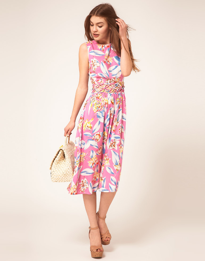 Lyst Asos Midi Summer Dress With Floral Cut Out Waist In