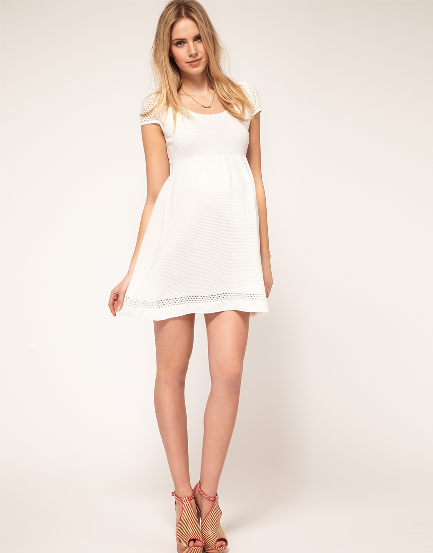 Asos maternity knitted dress with crochet sleeve in white lyst gallery womens crochet dresses ombrellifo Images