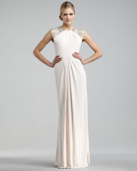 Badgley Mischka Beaded Capsleeve Gown in Beige (blush) - Lyst