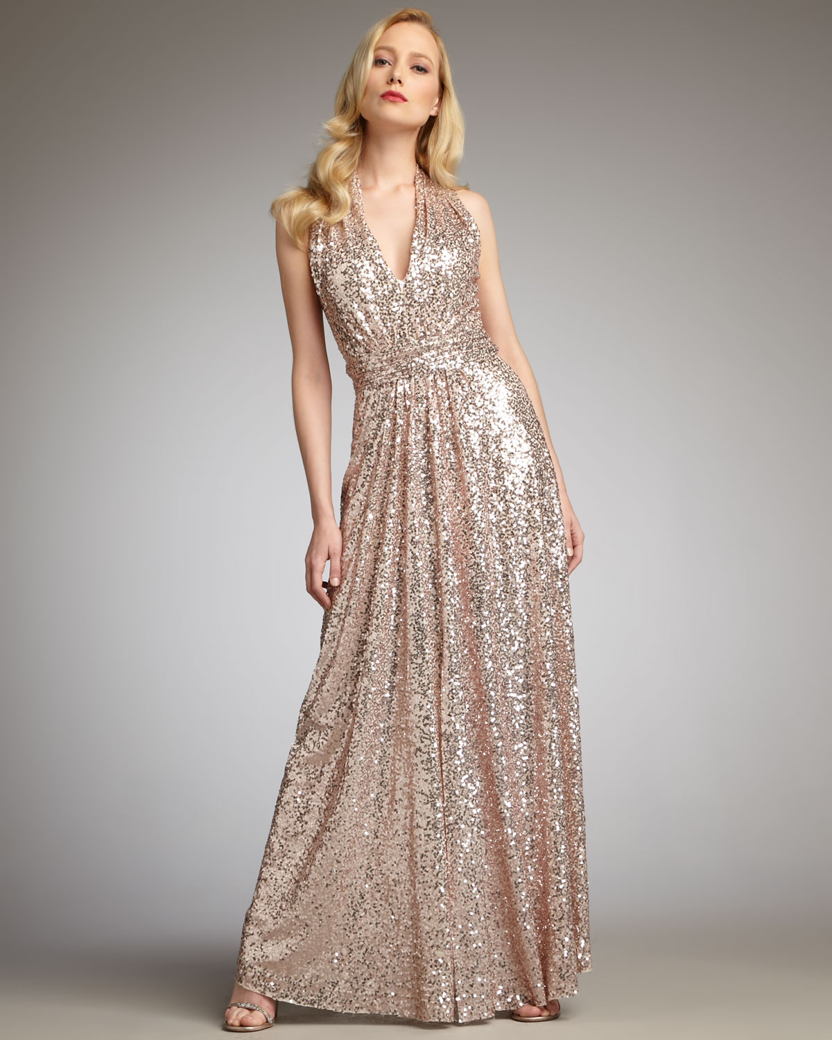 Lyst - Badgley Mischka Sequined Halter Gown in Metallic