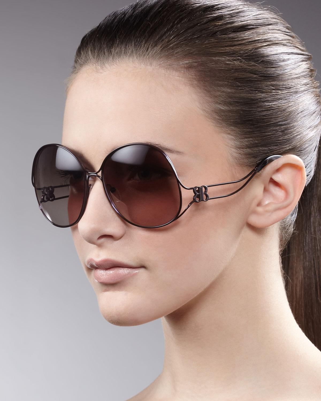 2ef320ba61ffb Balenciaga Oversized Metal-arm Sunglasses