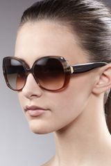 Balenciaga Oversized Horn Sunglasses, Brown - Lyst