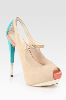 Boutique 9 Suede Colorblock Peep Toe Platform Pumps - Lyst