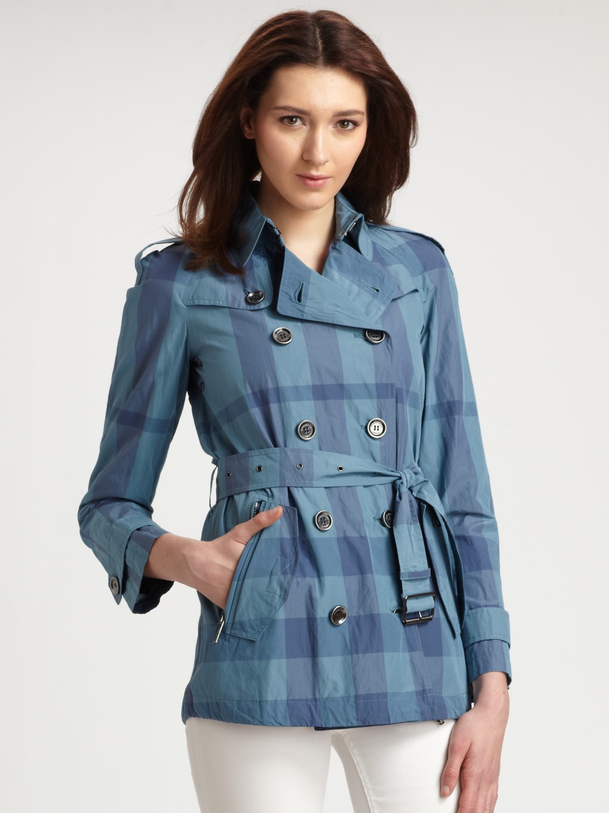Burberry Brit Check Short Trenchcoat In Blue (cadet)
