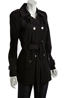 Calvin Klein Black Double Breasted Belted Short Trench - Lyst