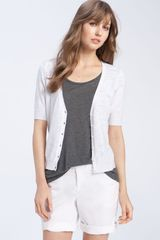 Caslon® V-Neck Elbow Sleeve Cardigan - Lyst