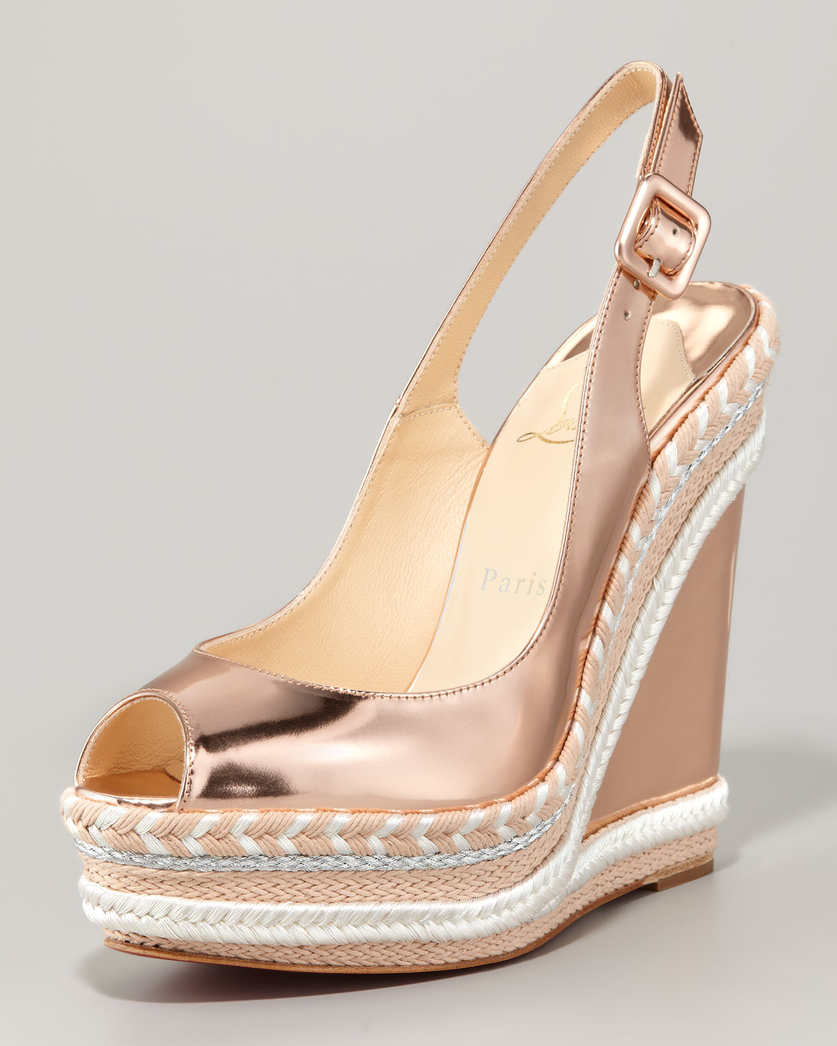 christian louboutin gold wedge sandals