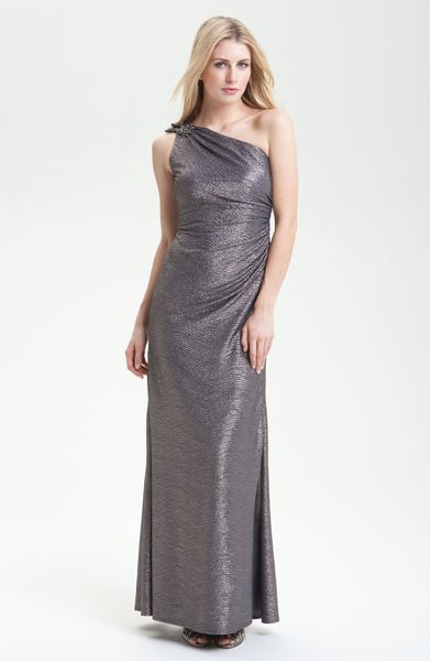 David Meister One Shoulder Metallic Gown in Gray (gunmetal) - Lyst