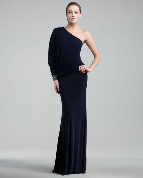 David Meister Onesleeve Jersey Gown in Blue (navy) - Lyst