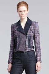 DKNY Mixed-media Motorcycle Jacket - Lyst