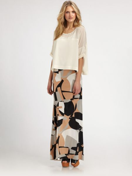 Dkny Silk Top in Beige (black) - Lyst