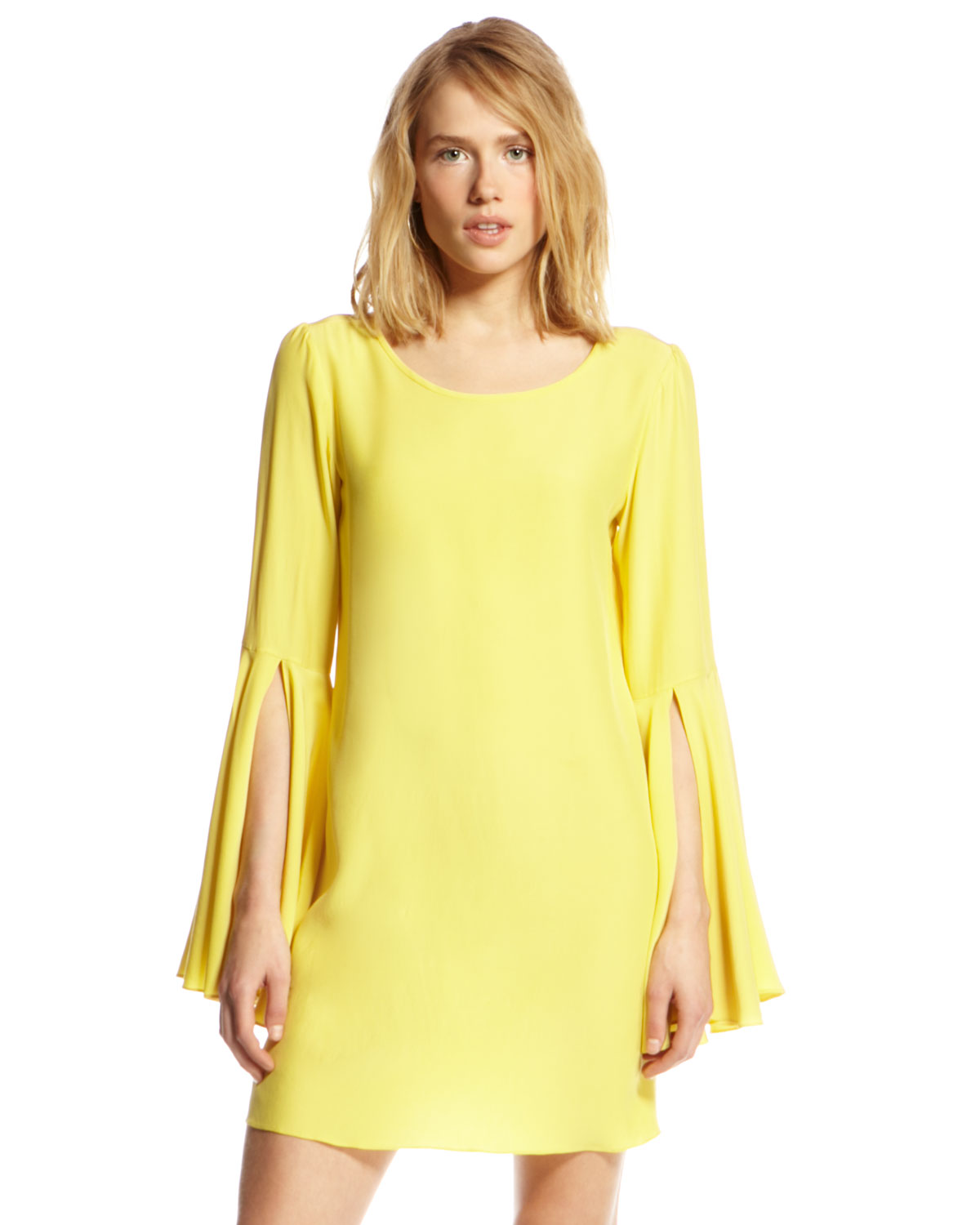 Yellow flared sleeves dress