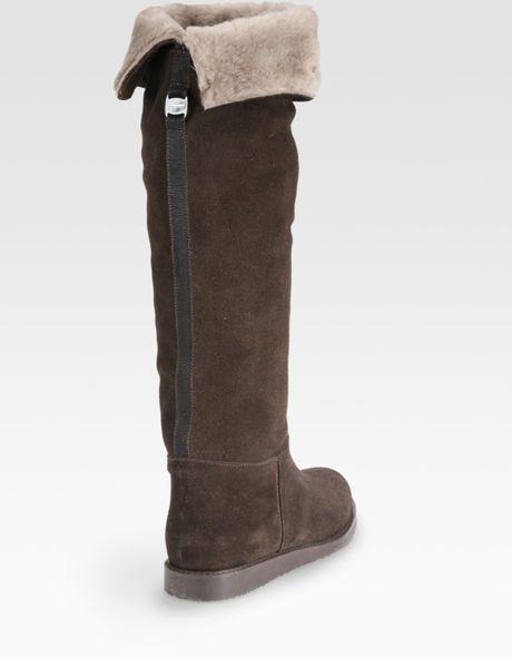 ferragamo suede shearling lined knee high boots in brown