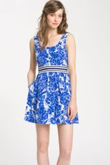 Juicy Couture Hyacinth Floral Print Silk Dress - Lyst