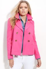 Juicy Couture Double Breasted Crop Trench in Pink (dragonfruit) - Lyst