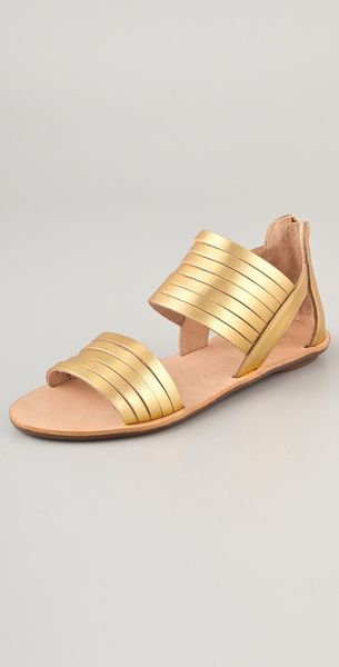 Loeffler Randall Heart Lr Sam Metallic Flat Sandals in Gold - Lyst