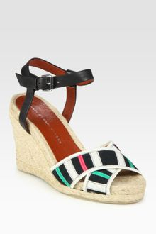 Marc By Marc Jacobs Leather and Ribbon Espadrille Wedge Sandals - Lyst