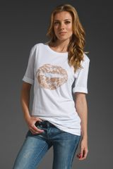 Markus Lupfer Lace Lips Tee in White/nude - Lyst