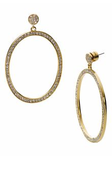Michael by Michael Kors Michael Kors Sleek Exotics Pavé Frontal Hoop Earrings - Lyst