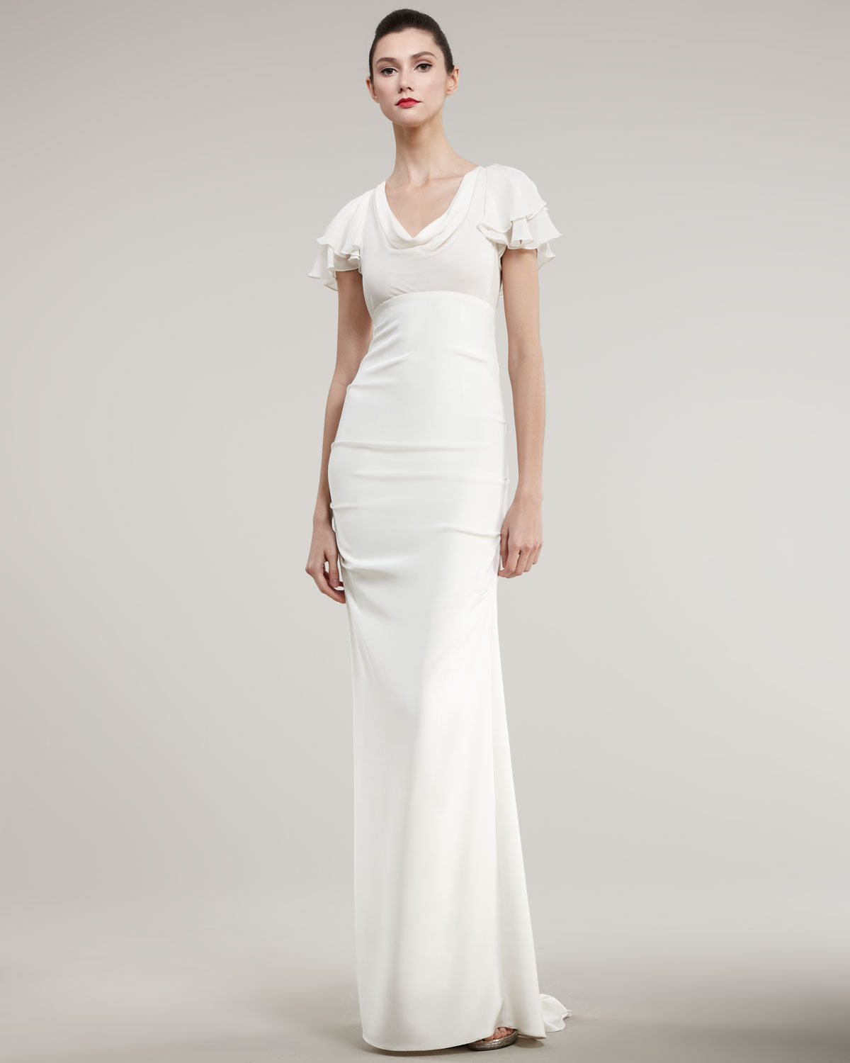 Gallery Nicole Miller Bridal Wedding Dresses: Nicole Miller Flutter-sleeve Fitted Gown In White