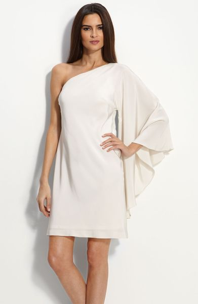 Nicole miller drape sleeve one shoulder dress in white for Nicole miller wedding dresses nordstrom