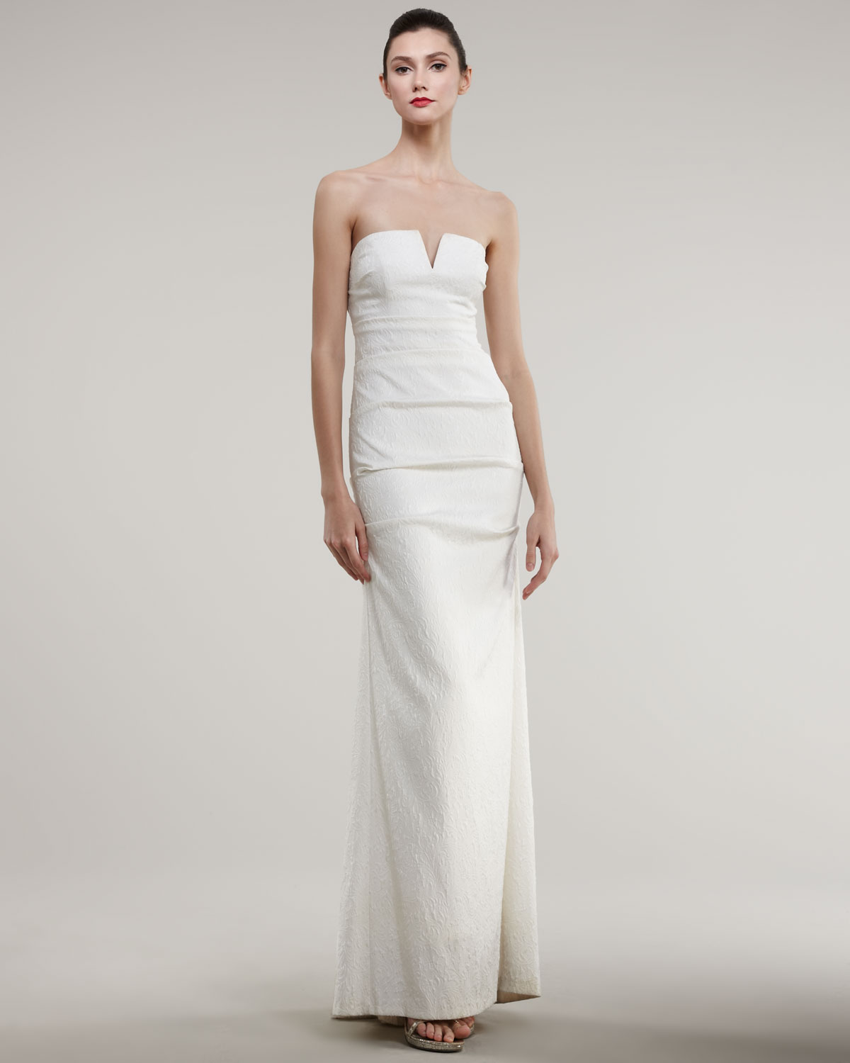 Lyst - Nicole Miller Strapless Split-neck Jacquard Gown in White