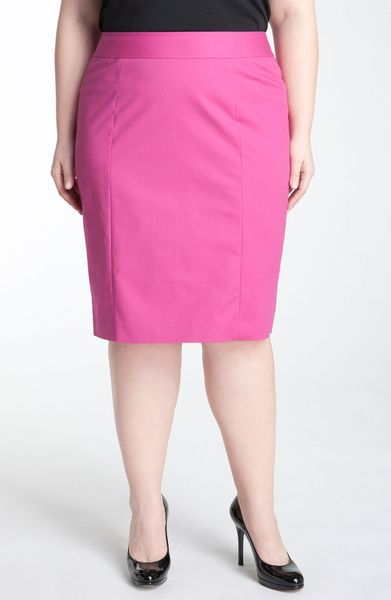sejour stretch cotton pencil skirt in pink fuschia pink