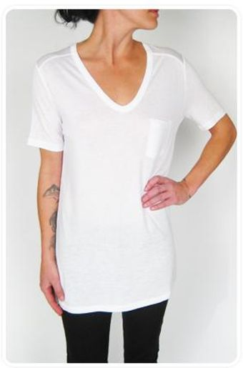 T By Alexander Wang Classic Rayon Jersey Tee with Pocket in White - Lyst
