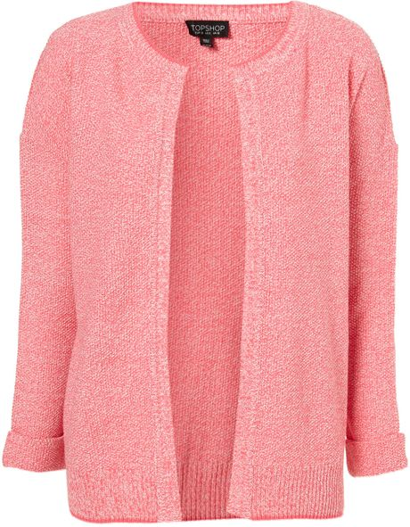 Topshop Knitted Tweedy Short Cardigan in Pink - Lyst