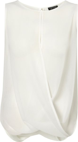 Topshop Sleeveless Drape Front Top in White