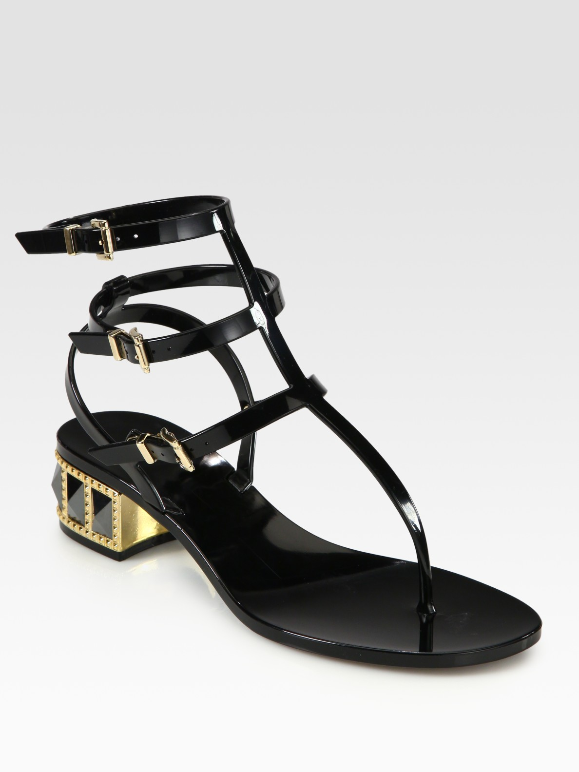 Valentino Rhinestone-studded Thong Sandals in Black