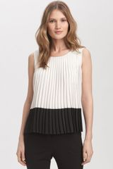 Vince Camuto Pleated Colorblock Blouse - Lyst