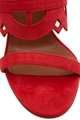 Alaïa Suede Platform Cutout High Heels in Red - Lyst