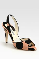 Brian Atwood Polkadot Print Pony Hair and Leather Slingback Sandals in Orange (pink) - Lyst
