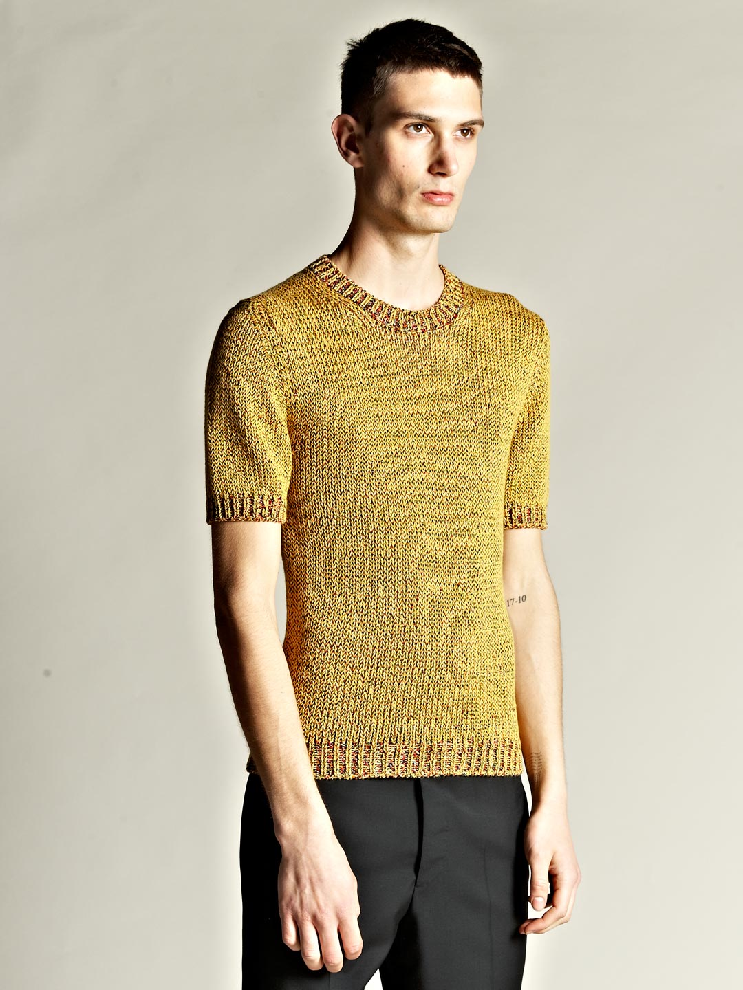 jil sander mens multi yarn short sleeve sweater in yellow. Black Bedroom Furniture Sets. Home Design Ideas