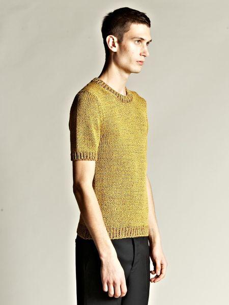 Jil Sander Mens Multi Yarn Short Sleeve Sweater In Yellow