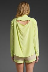 Laugh Cry Repeat Button Up Blouse in Green (neon) - Lyst