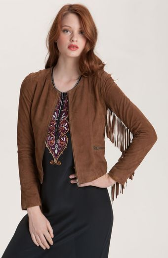 Winter Kate Sattar Fringe Sleeve Suede Jacket - Lyst