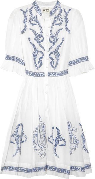 Alice By Temperley Embroidered Cotton and Silk-blend Dress - Lyst