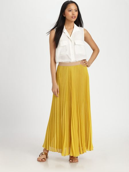 bcbgmaxazria estel sunburst pleated maxi skirt in yellow